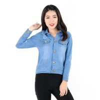 JEHFashion Jaket Denim Jeans Wanita Korea - Cherion