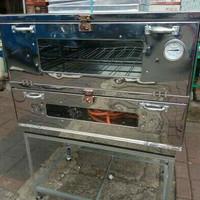 Oven kue ,roti, gas Lpg stainless 2 pintu 90x55x70cm lengkap