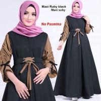 maxi ruby hitam terusan dress gamis hijab terusan maxi dress hijab t