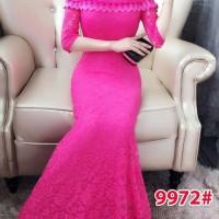 Impor 9972 pink long dress brukat wanita terusan dress brukat wanita