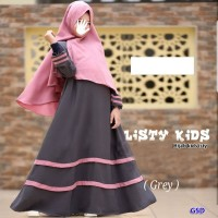 hijab kids listy abu setelan baju maxi bergo anak dress gamis bergo