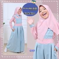 stelan overall ales kids pink biru setelan terusan dress gamis anak