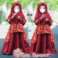 kids aurora3 merah terusan long maxi dress pashmina baju muslim anak