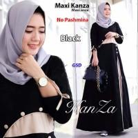 maxi kanza hitam terusan long dress maxi baju dress gamis hijab musl