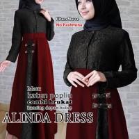 alinda dress hitam marun terusan dress gamis hijab maxi long dress t