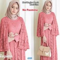 maxi regina peach terusan dress gamis hijab long maxi dress muslim t