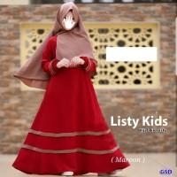 hijab kids listy marun setelan baju maxi bergo anak dress gamis berg