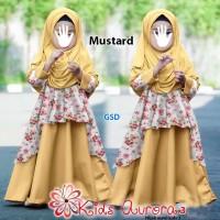 kids aurora3 mustard terusan long maxi dress pashmina baju muslim an