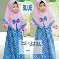 set polkamut biru setelan dress gamis anak bergo setela baju maxi an