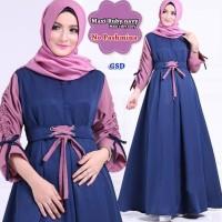 maxi ruby navy terusan dress gamis hijab terusan long maxi dress hij