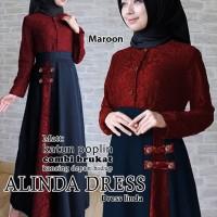 alinda dress marun terusan dress gamis hijab maxi long dress hijab t