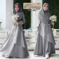 rihana abu terusan dress gamis terusan maxi long dress hijab bergo t