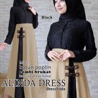 alinda dress hitam terusan dress gamis hijab maxi long dress hijab t