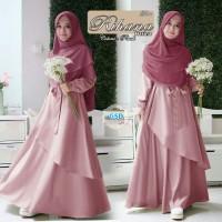rihana peach terusan dress gamis terusan maxi long dress hijab bergo