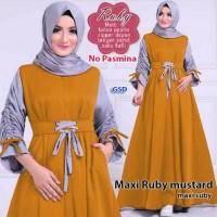 maxi ruby mustard terusan dress gamis hijab terusan maxi dress hijab
