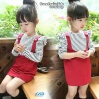 ov salur kids merah blus salur overall anak baju stelan overall anak