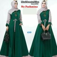 maxi renata hijau terusan long dress gamis hijab syari long maxi dre