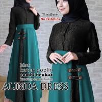 alinda dress hitam tosca terusan dress gamis hijab maxi long dress t