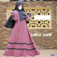hijab kids listy dusty setelan baju maxi bergo anak dress gamis berg