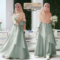 rihana hijau terusan dress gamis terusan maxi long dress hijab bergo