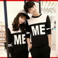 [Cp T Shirt ME CL] baju couple babyterry hitam kombi putih