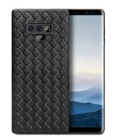 Samsung Note 9 2018 Woven Line Silicon Leather Soft Slim Case Thin - Navy