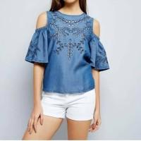 22718 Denim Embroidered Cold Shoulder Blouse