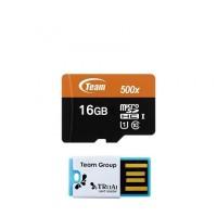 Team MicroSD 16GB UHS-1 + Card Reader Speed 500x ( 80 Mbps )