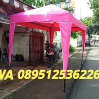 Tenda cafe 2x3 pink bongkar pasang