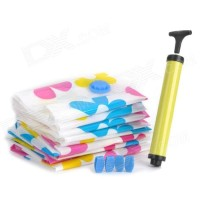 vacuum bag set 6 in1+pompa tangan motif sunflower baju selimut bantal