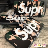Supreme Casing Tempered Soft Case Untuk iPhone X - Camouflage