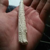 Pipa rokok ukir naga (full)dari tulang