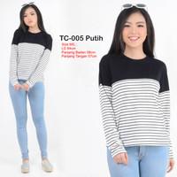 Grosir Baju Wanita Murah Kaos Cewek Korea Keren Terbaru TC-005 Putih