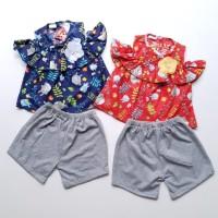 Baju Setelan Anak Bayi Perempuan Sabrina Totoro Celana Pendek Abu
