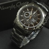 Jam Tangan Pria ALEXANDRE CHRISTIE AC 6141 Full Black Original