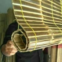 Tirai bambu hitam 1x2 m