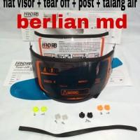 Paket ganteng flat visor + tear off + post + talang air
