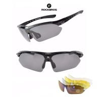 ROCKBROS Polarized Sports Sunglasses 5 lens - kacamata Sepeda BLACK
