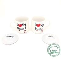 Mug Couple + Tutup I Love My Mommy / I Love My Daddy / Mug Keramik