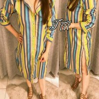 TUNIK LONG DRESS BIG SIZE XL GARIS BIRU HIJAU JUSI RAINBOW LISSA