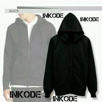 Jacket premium import hitam polos hoodie zipper