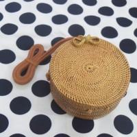 Tas Rotan Bulat tanpa motif 15 cm | rattan bag original lombok bali