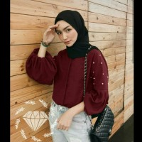 Balero Pearl Maroon Baju Muslim Wanita Blouse Muslim Terbaru
