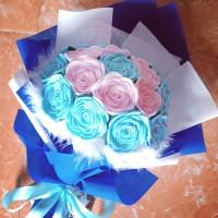 Buket bunga mawar flanel Biru untuk hadiah wisuda, anniv, ultah, dll