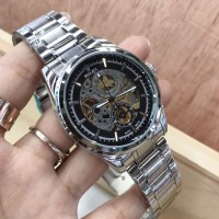 JAM TANGAN PRIA ROLEX AUTOMATIC SKELETON SILVER COVER BLACK