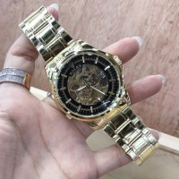 JAM TANGAN PRIA ROLEX AUTOMATIC SKELETON GOLD COVER BLACK