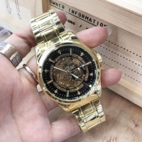 JAM TANGAN PRIA ROLEX AUTOMATIC SKELETON LOGO SAMPING GOLD (BLACK)