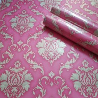Damask classic red 45 cm x 10 mtr || Wallpaper dinding