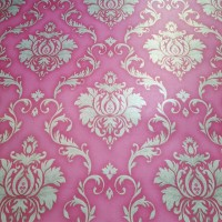 Damask red 45 cm x 10 mtr ~ Wallpaper sticker dinding