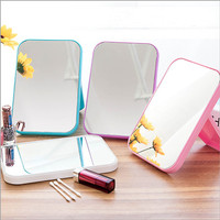 Kaca Rias Make Up Kreatif Cermin Lipat Persegi Portable Beauty Mirror